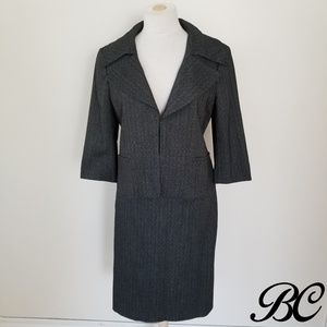 Ann Taylor Suit Blazer Jacket Skirt Dark Gray Sexy
